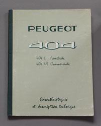 Peugeot 404 L Familiale, U 6 Commerciale, Caracteristiques et Description Technique - OCR.pdf